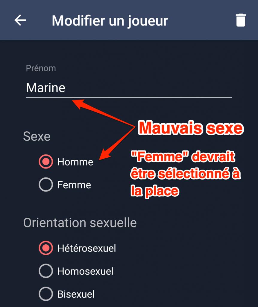 Mauvais sexe sélectionné
