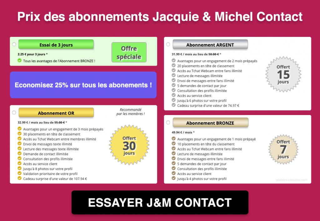 Prix Jacquie et Michel Contact
